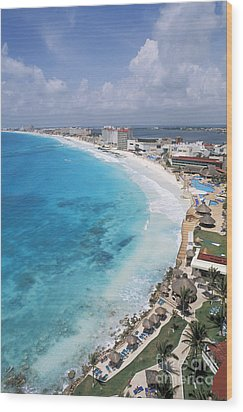 Aerial Of Cancun Wood Print by Bill Bachmann - Printscapes