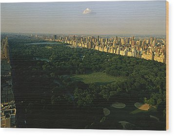 Aerial View Of Central Park, An Oasis Wood Print by Melissa Farlow