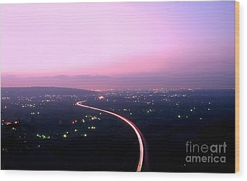 Aerial View Of Highway At Dusk Wood Print by Yali Shi