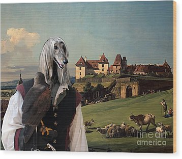 Afghan Hound-falconer And Castle Canvas Fine Art Print Wood Print by Sandra Sij