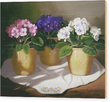 African Violets Wood Print by Linda Jacobus