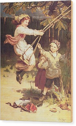 After School Wood Print by Frederick Morgan