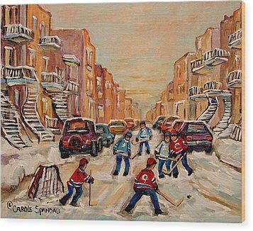 After School Hockey Game Wood Print by Carole Spandau