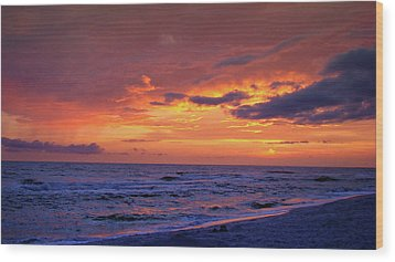 After The Sunset Wood Print by Sandy Keeton