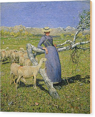 Afternoon In The Alps Wood Print by Giovanni Segantini