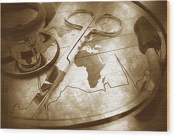 Aged Medical Tools Wood Print by Phill Petrovic