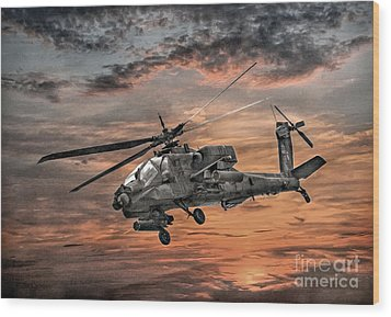 Ah-64 Apache Attack Helicopter Wood Print by Randy Steele