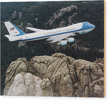 Air Force One Flying Over Mount Rushmore Wood Print by War Is Hell Store