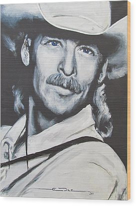 Alan Jackson - In The Real World Wood Print by Eric Dee