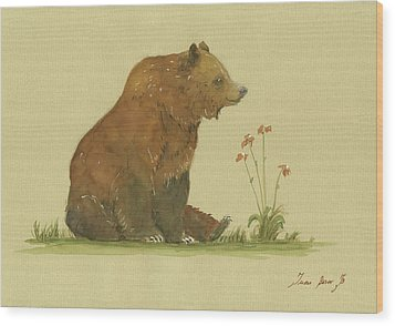 Alaskan Grizzly Bear Wood Print by Juan Bosco