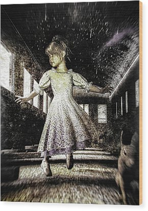 Alice And The Rabbit Wood Print by Bob Orsillo