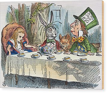 Alices Mad-tea Party, 1865 Wood Print by Granger