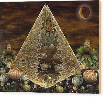 Alien Pyramid Wood Print by Peggi Wolfe