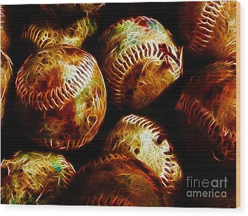 All American Pastime - A Pile Of Fastballs - Electric Art Wood Print by Wingsdomain Art and Photography