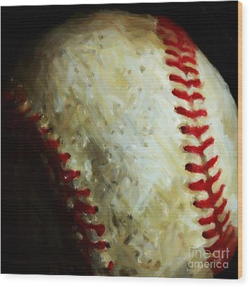 All American Pastime - Baseball - Square - Painterly Wood Print by Wingsdomain Art and Photography