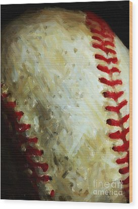 All American Pastime - Baseball - Vertical Cut - Painterly Wood Print by Wingsdomain Art and Photography