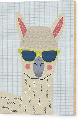 Alpaca Wood Print by Nicole Wilson