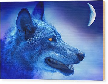 Alpha Wolf Wood Print by Mal Bray