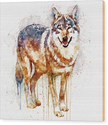 Alpha Wolf Wood Print by Marian Voicu