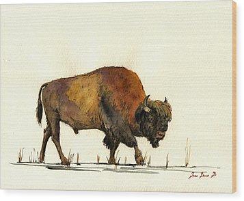 American Buffalo Watercolor Wood Print by Juan  Bosco