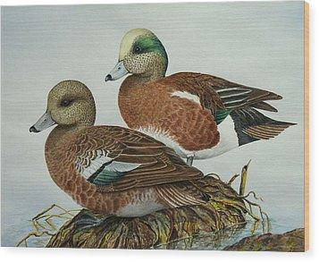American Widgeons Wood Print by Elaine Booth-Kallweit