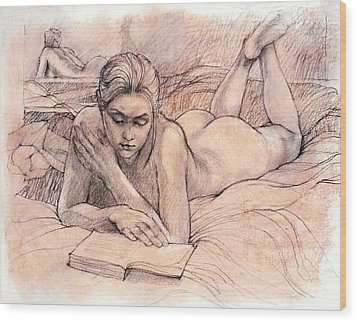 Amy Reading Wood Print by Roz McQuillan