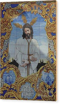 An Azulejo Ceramic Tilework Depicting Jesus Christ Wood Print by Sami Sarkis