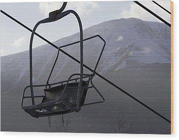 An Empty Chair Lift At A Ski Resort Wood Print by Tim Laman