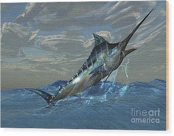 An Iridescent Blue Marlin Bursts Wood Print by Corey Ford