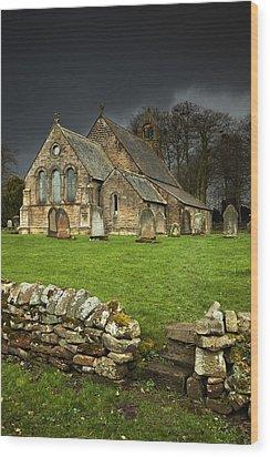 An Old Church Under A Dark Sky Wood Print by John Short