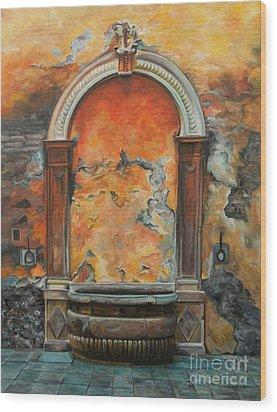 Ancient Italian Fountain Wood Print by Charlotte Blanchard