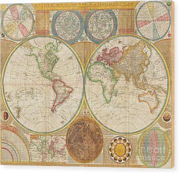 Ancient Map World In Hemispheres Wood Print by Pg Reproductions