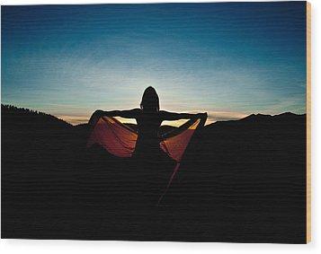 Angel At Sunset Wood Print by Scott Sawyer