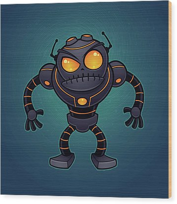 Angry Robot Wood Print by John Schwegel