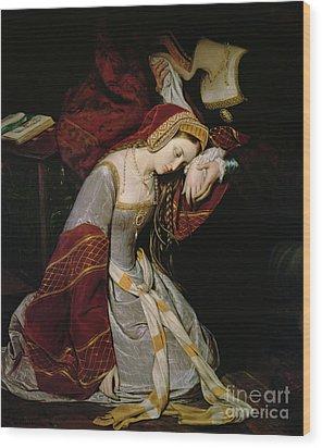 Anne Boleyn In The Tower Wood Print by Edouard Cibot