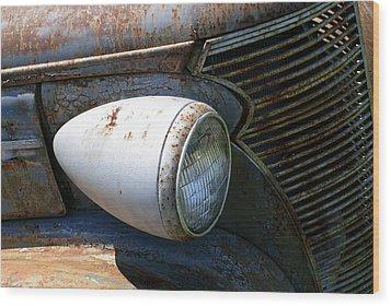 Antique Car Headlight Wood Print by Douglas Barnett