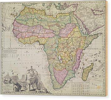 Antique Map Of Africa Wood Print by Pieter Schenk