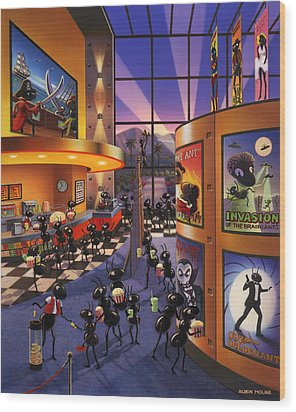 Ants At The Movie Theatre Wood Print by Robin Moline