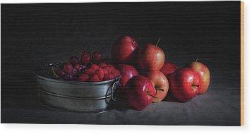 Apples And Berries Panoramic Wood Print by Tom Mc Nemar