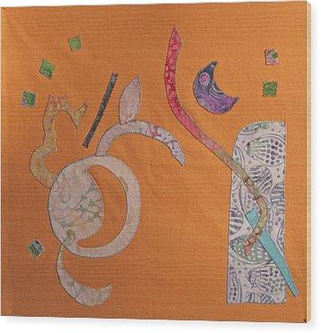Applique 2 Wood Print by Eileen Hale