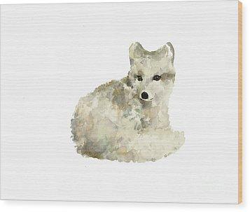 Arctic Fox Watercolor Art Print Painting Wood Print by Joanna Szmerdt