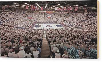 Arizona Wildcats White Out At Mckale Center Wood Print by Replay Photos