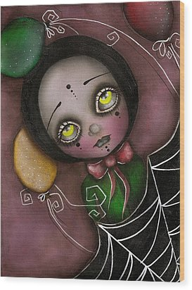 Arlequin Clown Girl Wood Print by  Abril Andrade Griffith