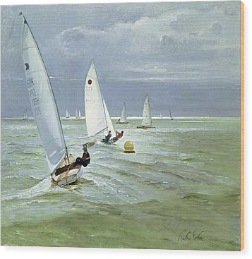Around The Buoy Wood Print by Timothy Easton