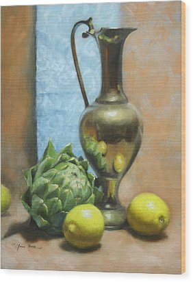 Artichoke And Lemons Wood Print by Anna Rose Bain