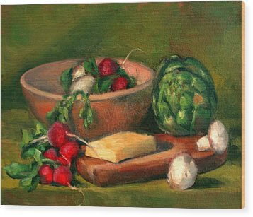 Artichoke And Radishes Wood Print by Athena  Mantle