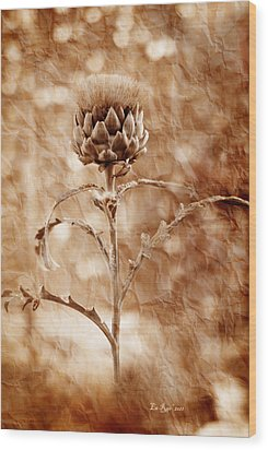 Artichoke Bloom Wood Print by La Rae  Roberts