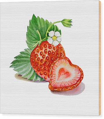 Artz Vitamins A Strawberry Heart Wood Print by Irina Sztukowski