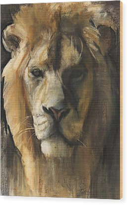 Asiatic Lion Wood Print by Mark Adlington