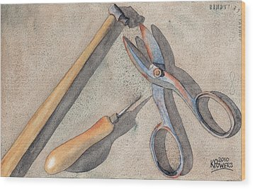 Assorted Tools Wood Print by Ken Powers